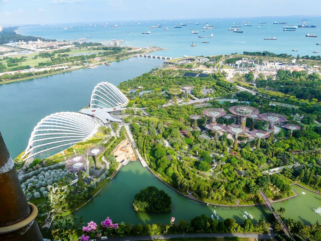 Gardens by the Bay - vue du Marina bay Sands