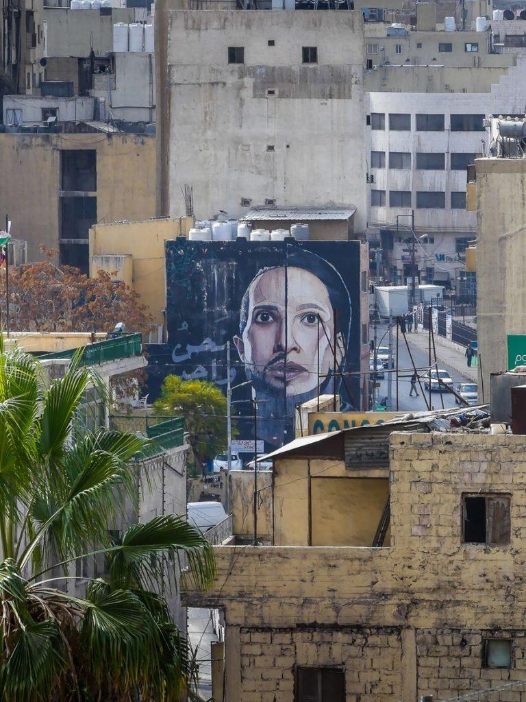 Amman - descente citadelle vers théâtre  - street art